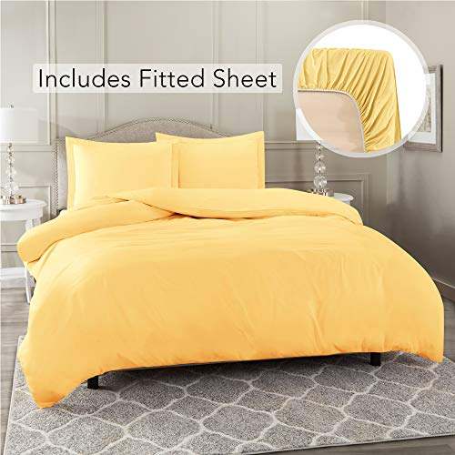 Nestl Bedding Duvet Cover with Fitted Sheet 4 Piece Set - Soft Double Brushed Microfiber Hotel Collection - Comforter Cover with Button Closure, Fitted Sheet, 2 Pillow Shams, Cal King - Ligth Yellow
