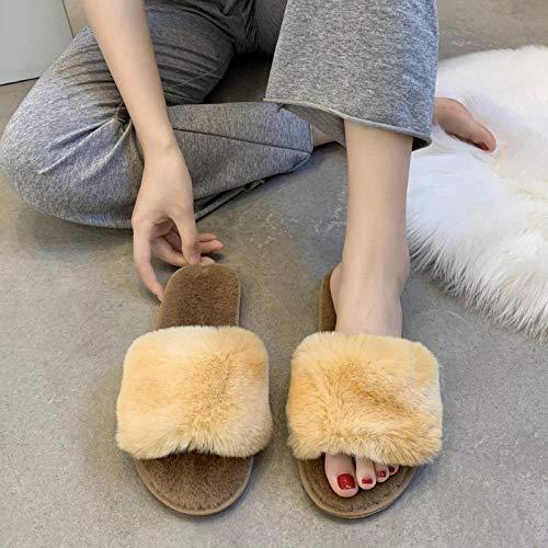 HUSHUI Mujer Peluche Memory Foam Zapatillas De Casa,Calzado Antideslizante, Felpa Exterior Algodon-Amarillo_40,Invierno Impermeables Pantuflas