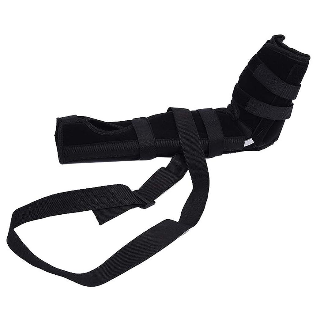ストライド政治的野心SUPVOX 肘ブレース 関節サポート アームリーダー 保護 固定 腕つり 関節 保護 男女兼用 調節可能 通気性 術後ケアブレース(ブラック サイズL)