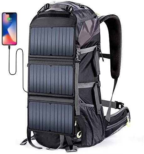 External Frame Hiking Backpack 68L with 20 Watts Solar Charger Panel product image