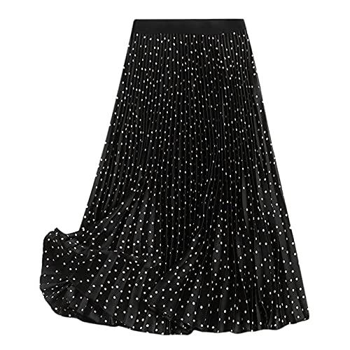 WQZYY&ASDCD Falda De Tubo Falda Mujer Faldas Largas Cintura Elstica Faldas Plisadas Maxi Playa Vintage Casual S Negro