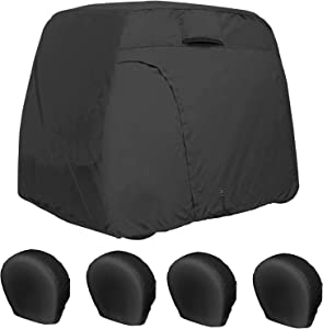 Explore Land Tough 29-31.75 inches 4 Pack Tire Covers Bundle with 4 Passengers Weatherproof Golf Cart Cover - Black
