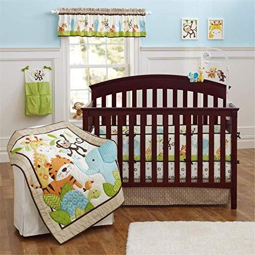 SpringBaby Juego de ropa de cama para niño, niña, algodón suave, juego de ropa de cama para cuna portátil, juego de cama de cuna Safari Woodland Leon Deer Elephant Cuna Set de 9 piezas en amarillo/azul/naranja