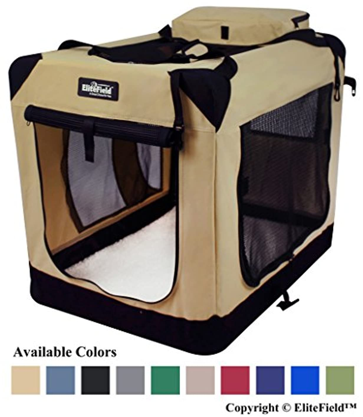 EliteField 3-Door Folding Soft Dog Crate, Indoor & Outdoor Pet Home, Multiple Sizes and Colors Available