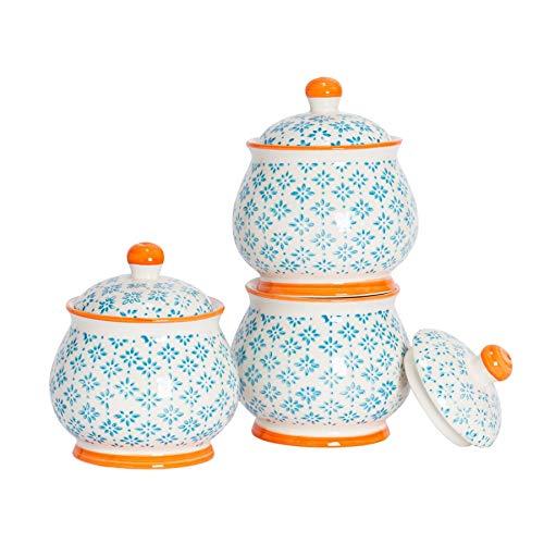 Nicola Spring Bol/Pot à Sucre à Motifs avec Couvercle - Bleu/Orange x3