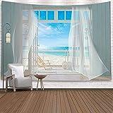 Tapiz,Hawaii Beach Blue Ocean Con Tumbona, Cortina Blanca En Sea Breeze, Tapices Con Vista De Ventana De Madera En 3D, Decoración Vintage, Trippy, Manta Grande, Decoración Para Dormitorio, Sala De