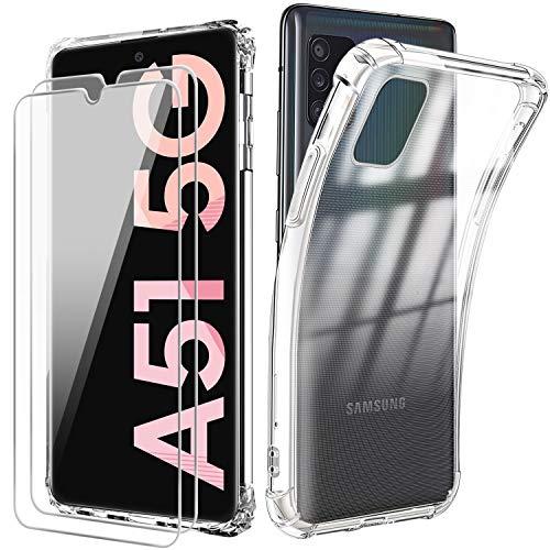 Funda para Samsung A51 5G + [2 Pack] Cristal Templado Protector de Pantalla,Suave TPU Transparente Gel Silicona Anti-caída Anti-arañazos Protectora Carcasa para Samsung Galaxy A51 5G (6,5 Pulgadas)