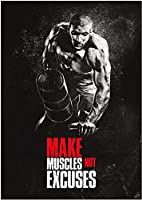 ジムボディービルポスター筋肉男性ワークアウトポスター動機付けの引用壁アートジムエクササイズキャンバス絵画スポーツルームホームジムの装飾40x60cmフレームなしV50
