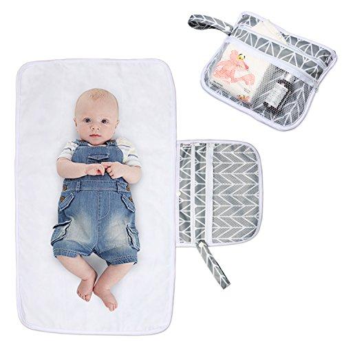 Luxja matelas à langer de voyage, tapis a langer portable pour bébé, matelas à langer pliable, Réutilisable, Avec Pochettes, Parfait à la Maison et Voyage, Pliable et Lavable en Machine