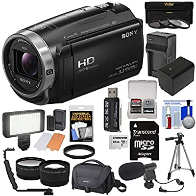 Sony Handycam HDR-CX675 32GB Wi-Fi HD Video Camera Camcorder with 64GB Card + Battery & Charger + Case + Tripod + LED Light + Mic + Tele/Wide Lens Kit by Sony