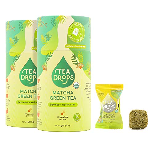 Sweetened Organic Loose Leaf Tea | Caffeinated Instant Matcha Green Tea | 20 Handcrafted Best Selling Herbal Tea Drops | Great Gift For Tea Lovers | Delicious Hot or Iced | 2-pack
