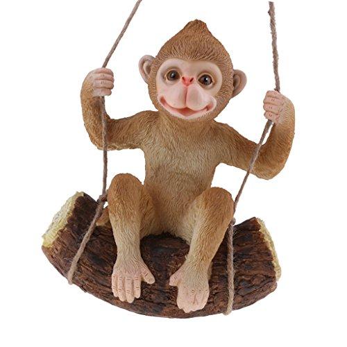 F Fityle Columpios De Resina Animales Decoración De Jardín Adornos Decoración para El Hogar Figuras Pastorales - Mono marrón