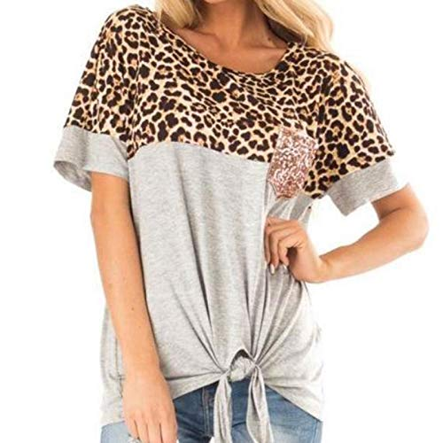 Janly Clearance Sale Blouse for Women , Casual Leopard Print Patchwork Gold Piece Pockets Under The Foot Bow T-s , Easter St Patrick's Day Deal (Silver-M)