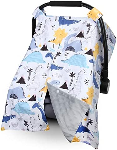 Car Seat Cover Rquite Carseat Canopy Cover Up with Peekaboo Opening Breathable Cotton Infant product image