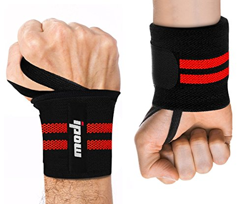 Ipow Adjustable 18.5' Weight Lifting Training Wrist Straps Support Braces Wraps Belt Protector for Weightlifting Powerlifting Bodybuilding - For Women and Men,set of 2