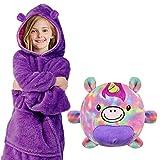 Voqeen Sudadera Unisexo con Capucha Pijama Niños Niñas con Capucha Batas Sherpa Súper Suave para Vestir Manta de Bolsillo Grande, con Bolsa de Almacenamiento con Forma de Mascota