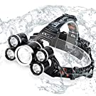 Acsin Zoomable LED Headlamp Flashlight with USB Charger, Super Bright T6 LED 4 Modes Waterproof Head 90º Swivel Ability Focusing Ring Headlight Outdoor Hiking Camping