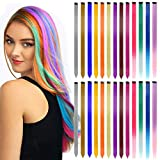 VEGCOO 26 Pieces Clip in Hair Extensions, Colored Hair Extensions Rainbow Straight Hair Extensions Heat-Resistant Synthetic Hair Extensions 13 Colors