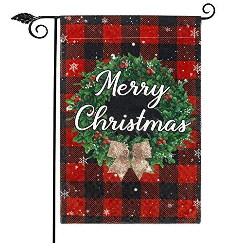 Unevs Christmas Garden Flag, Double Sided Burlap Red Black Buffalo Plaid Merry Christmas Garden Flags, Holiday Winter Rustic Christmas Yard Flag Farmhouse Outdoor Decoration 12.5''x18''
