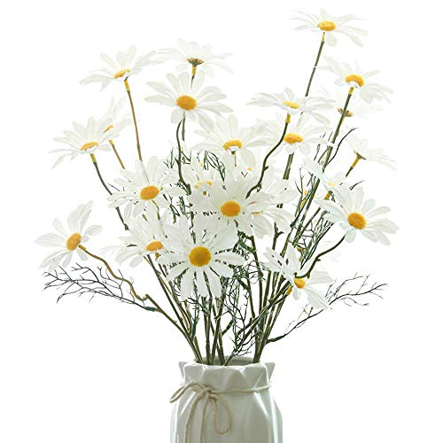 NAHUAA 4Pcs Flor de Seda Artificial Margarita Falsa Arreglo Floral de Imitación Margaritas Blancas para Manualidades DIY Boda Hogar Cocina Fiestas Decoraciones Verano Otoño