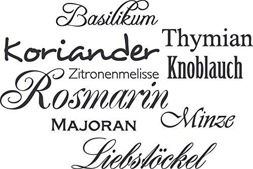 GRAZDesign Wandtattoos Küche Esszimmer Kräuter - Aufkleber für Küche Gewürze - Wandtattoo Küche Rosmarin / 60x40cm / 073 dunkelgrau