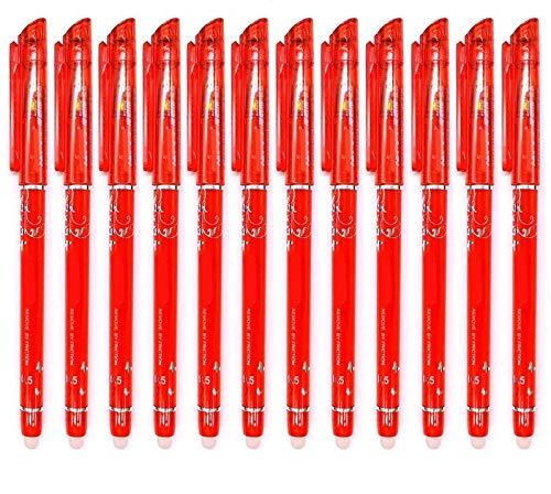 RHardware 12 penne cancellabili color rosso con punta a pennino da 0,5 mm, scrittura scorrevole, cancelleria per la scuola