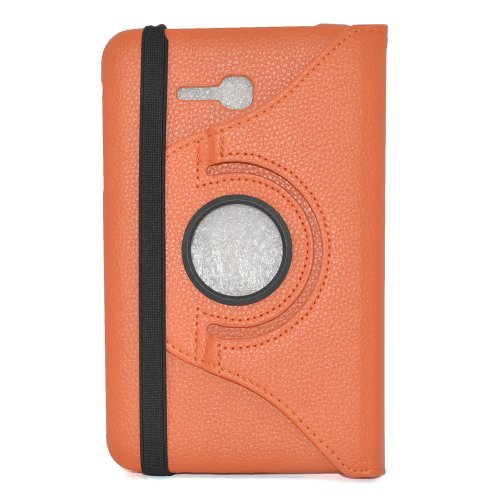 Apexel 360 Degree Rotatable Rotating Flip Leather Protective Case Cover for 7' Samsung Galaxy Tab3 Lite Wifi T110 Orange