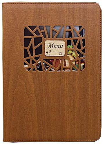 10枚セット 小窓付き メニュー ブック ファイル A4 全4色 木目 料理 選択 中閉じ スタンダード レシピ バインダー… (ダークブラウン)