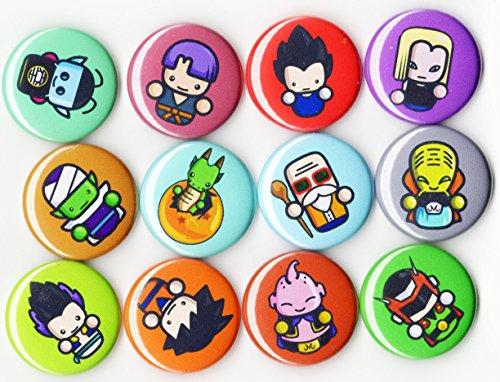 Dragon Ball Z - Anime 1' inch Button Set - 12 Piece - Goku Vegeta Master Roshi