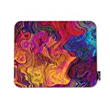 Mugod Colorful Chaotic Waves Mouse Pad Rainbow Purple Pink Red Orange Gold Blue Violet Decor Gaming Mouse Pad Rectangle Non-Slip Rubber Mousepad for Computers Laptop 7.9x9.5 Inches