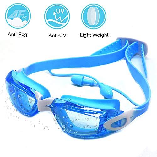 Zerhunt Gafas de natación, Gafas de natación con protección UV 400, antiniebla, sin Fugas, con Tapones para los oídos y Funda Protectora para niños