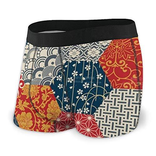 LAOLUCKY Azulejo sin costuras patrón patrón patchwork calzoncillos bóxer suave transpirable ropa interior novedad ropa interior negro