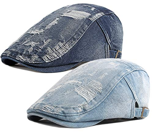 2 Pack Mens Denim Cotton Newsboy Cap Ivy Gatsby Driving Hunting Cabbie Hats (2 Pack-D)