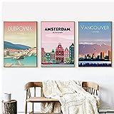 DLFALG Amsterdam, Canadá, Croacia, viaje, paisaje de la ciudad, póster, lienzo, pintura, impresión, arte de pared, impresión de imagen, sala de estar, decoración del hogar-40x60cmx3 sin marco