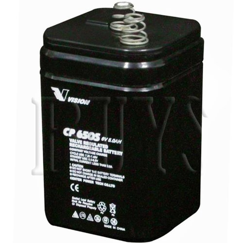 Price comparison product image CP650S Rechargeable Sealed AGM 6v 5ah Vision Lantern Battery Spring Top replaces Replaces UB5-6S,  UB650S,  WKA6-5SP,  DE-30045,  BL-650-S,  CF-6V5L,  PS-650SP,  HGL5-6B,  MFHRB6,  MFH-RB6,  BSL0906,  SLA0916,  G60,  DJW6-4.5S,  LP6-4.5S,  WP5-6S,  ES506F,  6V4R25S,  PS-650LS,  PS6-5ST,  DE650-S,  PC5-6L