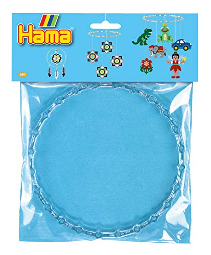 Hama Perlen 491 Mobile Ring mit Durchmesser 18 cm für Motive aus Bügelperlen, 2 Stück in transparent, Zubehör, kreativer Bastelspaß für Groß und Klein