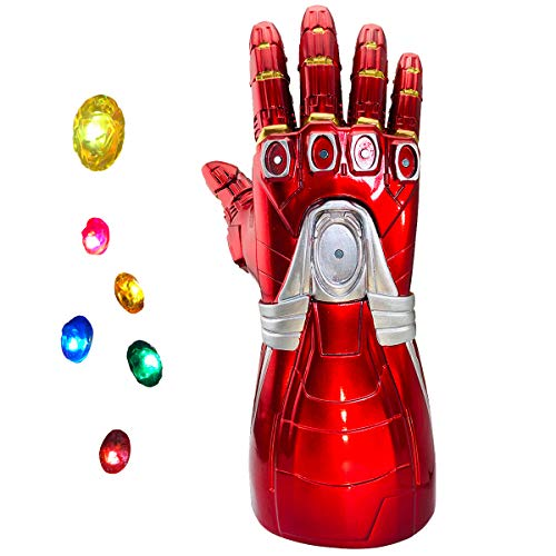 yacn Iron Man Infinity Gauntlet, Iron Man Glove LED with Removable Magnet Infinity Stones-3 Flash Mode, Iron Man Cosplay for Adult and Kids
