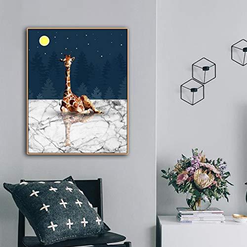 JinYiGlobal Pintura en Lienzo de Dibujos Animados Jirafa Animales impresión Lienzo decoración del hogar Cuadros de Pared postesr para Sala de Estar Dormitorio 70x95cm sin Marco