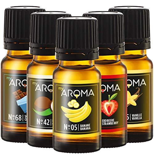 myAROMA | Set con puro aroma naturale per atleti - Perfetto per l'automiscelazione (5x 10ml) | Senza zucchero e senza dolcificante