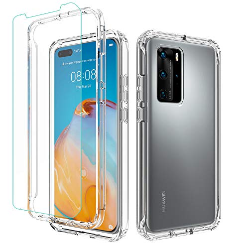 Valchinova for Huawei P40 Pro Case Clear 2 in 1 Hybrid Rugged Armor Cover Soft TPU Transparent PC Bumper 360° Full Body Protect Non-Slip Shockproof + Tempered Glass Screen Protector