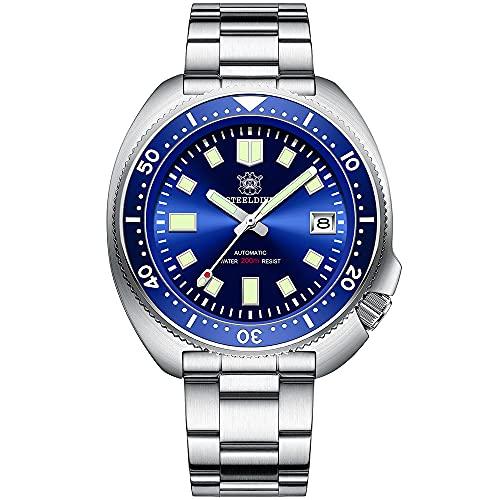STEELDIVE Relojes de Pulsera 200M Impermeable Automático Reloj mecánico para Hombres Japón NH35 Movimiento Auto Viento Calendario de Acero Inoxidable Luminoso Reloj de Buceo clásico(Azul-S)