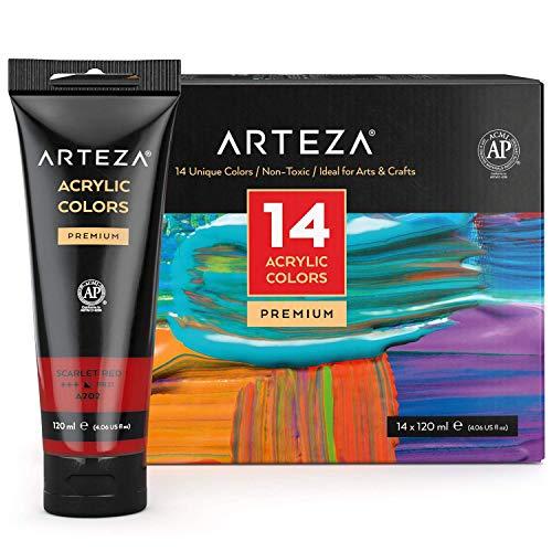 Arteza Acrylfarben, Set mit 14 Tuben, 120 ml Malfarbe pro Tube, hochwertige Acryl-Künstlerfarbe, zum Malen auf Leinwänden