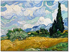 Wieco Art Wheat Field with Cypresses by Van Gogh Classical Oil Paintings Reproduction..