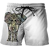 Pantalones cortos de playa 3D Bañador de Natación de Secado Rápido for Hombres de Moda Casual con Bolsillos - Patrón de Elefante Mandala Impreso en 3D Pantalones Cortos de Playa de Personalidad Cómoda