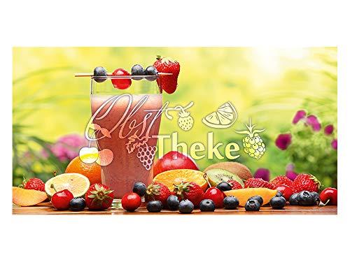 GrazDesign 991056 privacyfolie voor fruit, theke/vruchten, met glazen decoratiefolie bedrukt, ondoorzichtige raamfolie als decoratie voor keukenramen 110x57cm