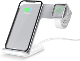 FACEVER 2 in 1 Qiワイヤレス充電スタンド、ワイヤレス高速同時充電器対応iWatch Apple Watch Series 1 2 3、iPhone X XS MAX XR 8 8 Plus、Samsung S9 S8 +、 Qi規格対応、 ホワイト