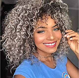 CIWI HAIR Short Curly Wig for Black Women Afro Curly Wigs With Bangs Shoulder Heat Resist Natural Soft Synthetic Hair Suit...