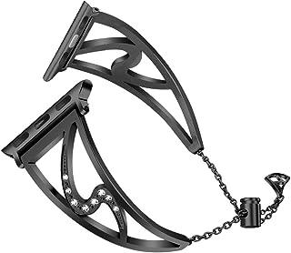 HEMOBLLO 38mm Watch Strap Jewelry Bracelet Bangle Wristband Compatible with iwatch Series 4/3/2/1(Black)
