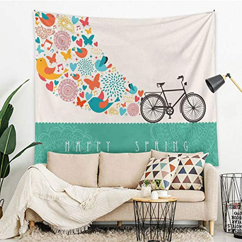 Bicycle Room Bedroom Tapestry Wall Hanging Happy Spring Themed Bike Concept with Blossomed Bird and Butterflies Fresh Print Indian Mandala Tapestry 59.1'x59.1' Teal Grey