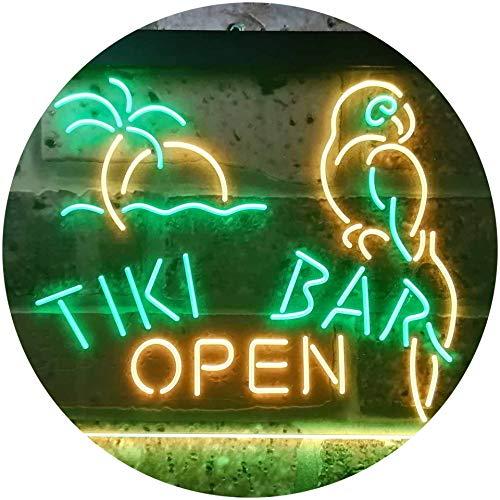ADV PRO Tiki Bar Open Parrot Dual Color LED Barlicht Neonlicht Lichtwerbung Neon Sign Grün & Gelb 400 x 300mm st6s43-i3311-gy